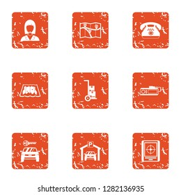 Clue icons set. Grunge set of 9 clue icons for web isolated on white background
