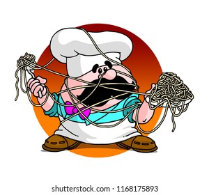 Clumsy Cook with Spaghetti
