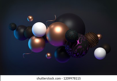 Cluster of abstract spheres, 3d render