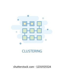 Clustering concept trendy icon. Simple line, colored illustration. Clustering concept symbol flat design from Artificial Intelligence  set. Can be used for UI/UX