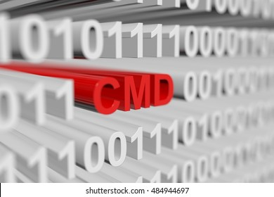 CMD as a binary code with blurred background 3D illustration