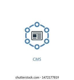 CMS concept 2 colored icon. Simple blue element illustration. CMS concept symbol design. Can be used for web and mobile UI/UX