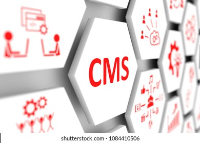 CMS concept cell blurred background 3d illustration