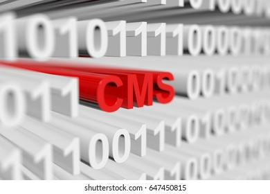 CMS in the form of a binary code with blurred background 3D illustration