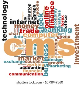 CMS word cloud concept on white background, 3d rendering.