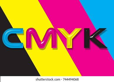 CMYK Background illustrating main printing inks including Cyan, Magenta, Yellow and Black colors.