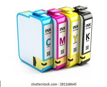 CMYK cartridges isolated on white background