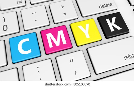 Cmyk digital offset printing and graphic design concept with colors and letter on a laptop computer keyboard 3d illustration for blog, shop and online business.