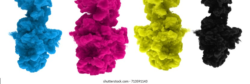 CMYK ink-drops isolated on a white background - 3D render