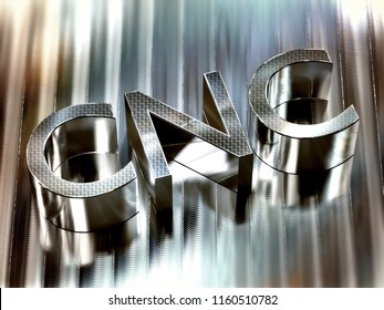 CNC 3d word machined on aluminium surface - computer numerical control concept. 3d illustration