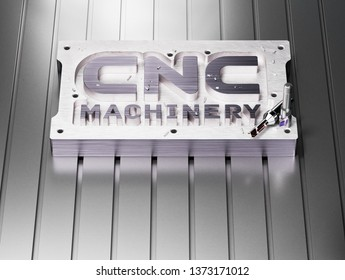CNC Milling Machine Concept. 3D illustration