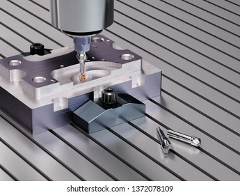CNC Milling Machine. Industrial Concept. 3D illustration