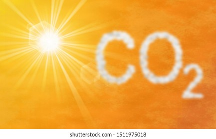 CO2 emission in the sky, Carbon dioxide - illustration