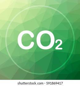 CO2 icon. CO2 website button on green low poly background.