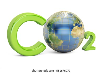 CO2 inscription with globe, pollution concept. 3D rendering isolated on white background. Elements of this image furnished by NASA