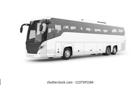 Coach Bus 3D Rendering Isolated on White
