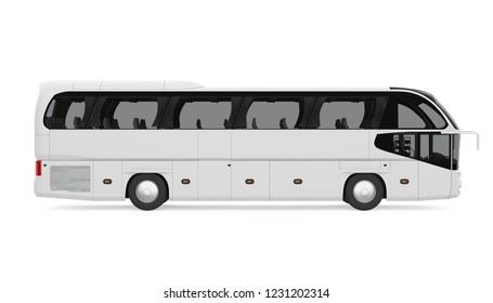 Coach Bus Isolated (side view). 3D rendering