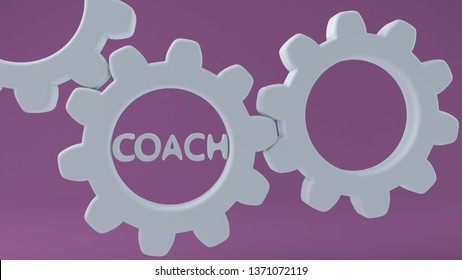 Coach concept on white gears.3d illustration