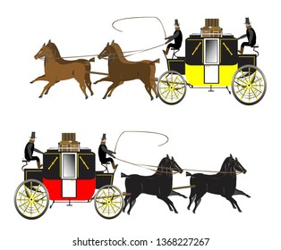 Coach and four horses with coachmen.