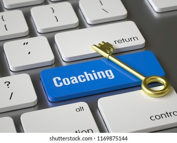 Coaching key on the keyboard, 3d rendering,conceptual image