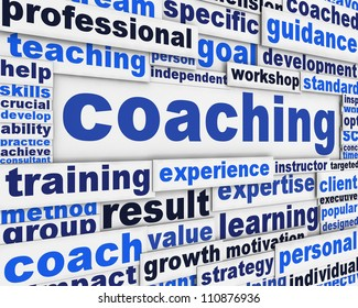Coaching message conceptual design. Professional competences poster concept