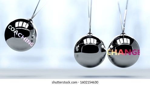 Coaching and New Year's change - pictured as word Coaching and a Newton cradle, to symbolize that Coaching can change life for better, 3d illustration