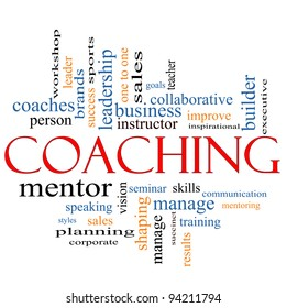 A Coaching word cloud concept with terms such as leader, mentor, seminar, instructor, sports, goals and more.