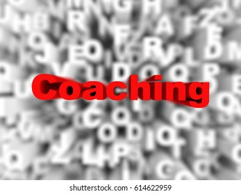 coaching word on typography background