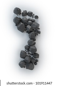 Coal lumps forming a footprint - Carbon footrpint concept