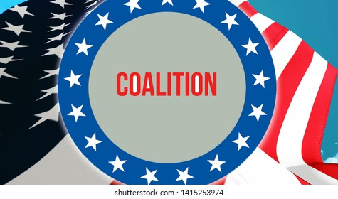 Coalition election on a USA background, 3D rendering. United States of America flag waving in the wind. Voting, Freedom Democracy, Coalition concept. US Presidential election banner