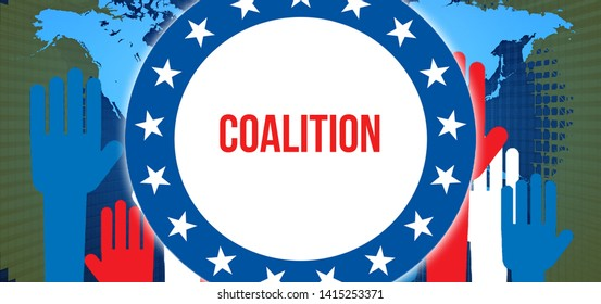 Coalition election on a World background, 3D rendering. World country map as political background concept. Voting, Freedom Democracy, Coalition concept. Coalition and Presidential election banner