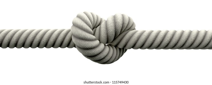 A coarse rope with a knot tied in the middle on an isolated background