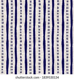 Coastal blue sailor stripe on tan linen texture background. Irregular hand drawn line seamless pattern. Summer nautical living home decor tile swatch. Marine striped textile backdrop.
