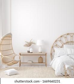 Coastal boho style bedroom interior, wall mockup, 3d render