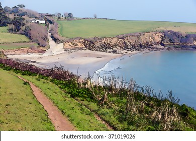 Coastal path Porthcurnick Cornwall England UK north of Portscatho on the Roseland peninsula, home to the Hidden Hut beach cafe featured on ITV Cornwall with Caroline Quentin illustration