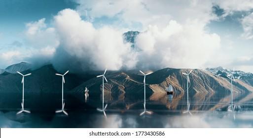 Küstenpark mit Windturbinen in wilder Landschaft mit majestätischer Bergspitze über Wolken. 3D-Darstellung.