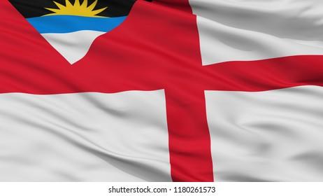 Coastguard Ensign Of Antigua And Barbuda Flag, Closeup View, 3D Rendering