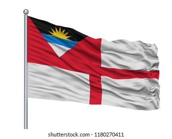 Coastguard Ensign Of Antigua And Barbuda Flag On Flagpole, Isolated On White Background, 3D Rendering