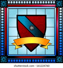 Coat of arms or crest stained glass window with blank scroll banner