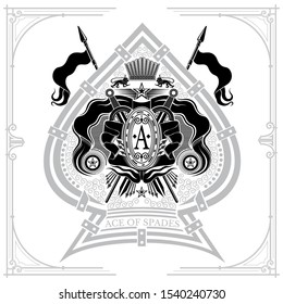 Coat of arms with crossed swords and spears in the center of ace of spades. Brand or T-shirt style on white
