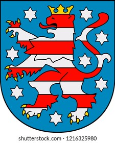 Coat of arms of the German federal state Thuringiam- Germany.