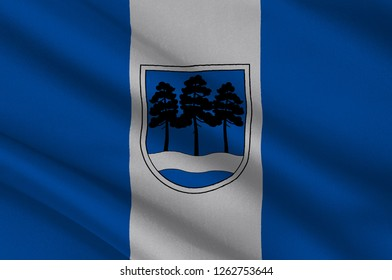 Coat of arms of Ogre is the principal town of Ogre Municipality in Central Latvia. 3d illustration