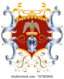 A coat of arms with a predator, a helmet and a crown