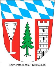 Coat of arms of the Regen district. Germany