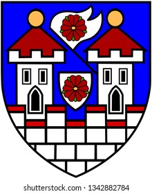 Coat of arms of Trebon. Czech