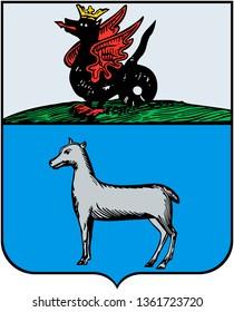 Coat of arms of Tsarevokokshaisk 1781 year. Yoshkar-Ola. Russia
