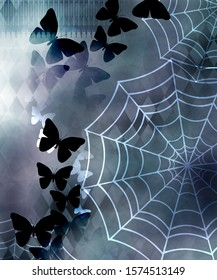 Cob web butterfly background wall paper