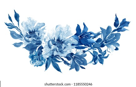 Cobalt Blue Hand painted Watercolor Floral Clipart Illustration Flower Peony and Lily Arrangement