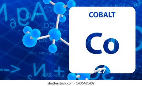 Cobalt Co, chemical element sign. 3D rendering isolated on white background. Cobalt chemical 27 element for science experiments in classroom science camp