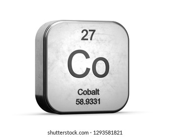 Cobalt element from the periodic table series icons. Metallic icon 3D rendered on white background